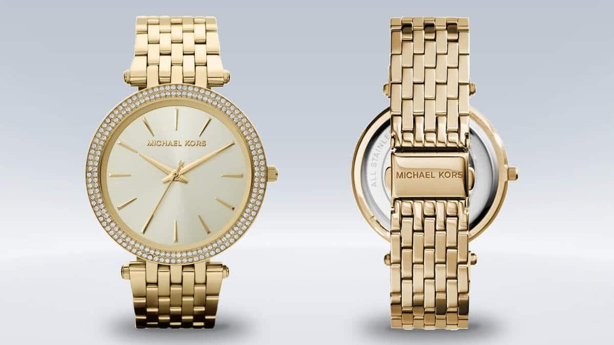 Złoty damski zegarek Michael Kors z kamieniami