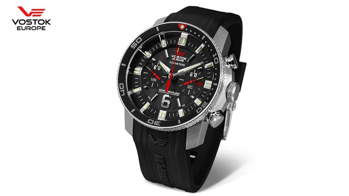 Czarny zegarek Vostok Europe Ekranoplan