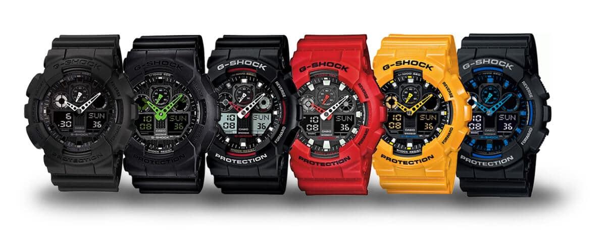Gama kolorów zegarków z linii modeli Casio G-Shock GA-100