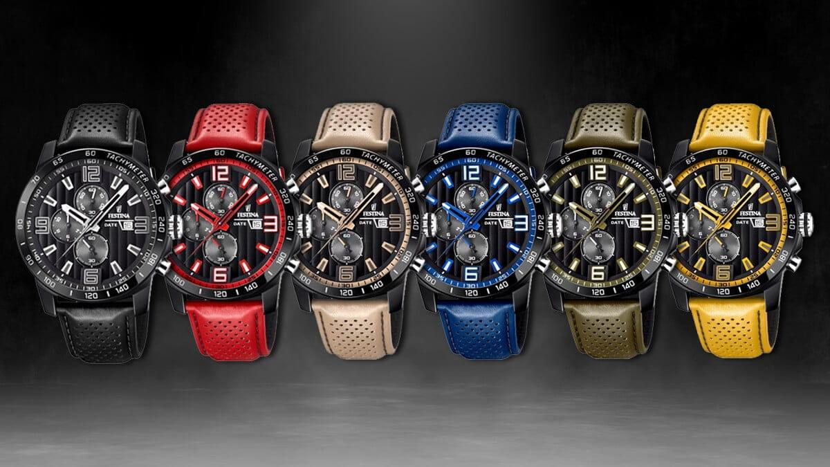 Kolorowa kolekcja sportowych zegarków Festina The Originals ze skórzanym paskiem