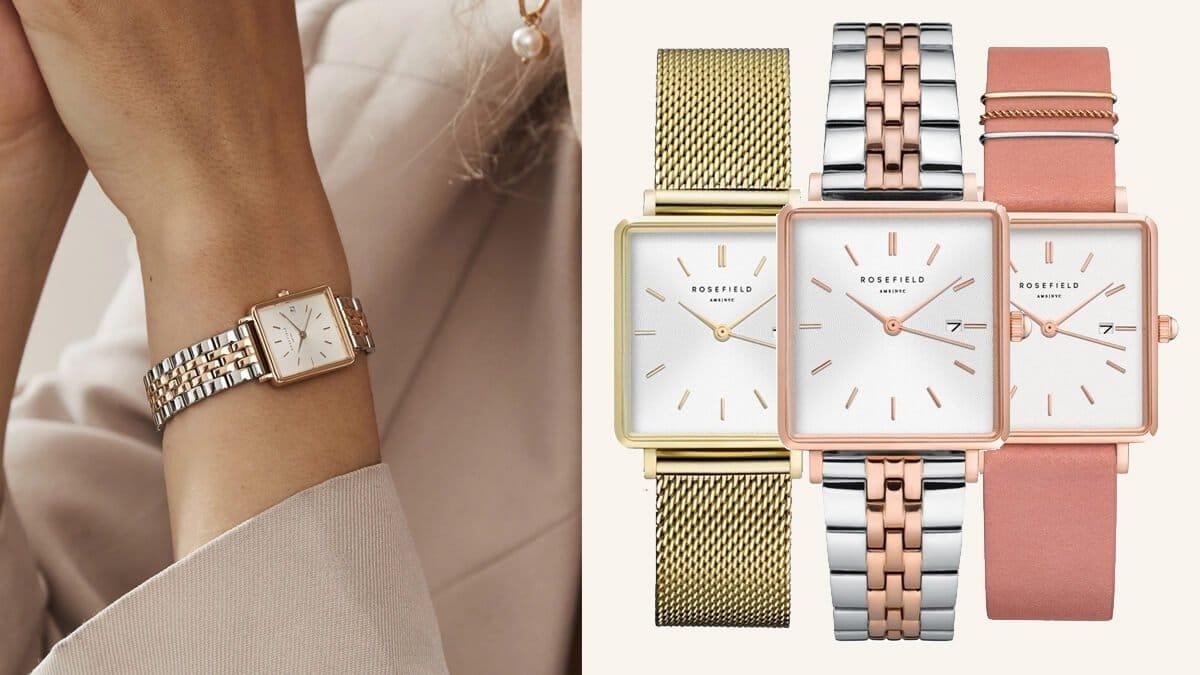 Hranaté dámské hodinky značky Rosefield - kolekce The Boxy